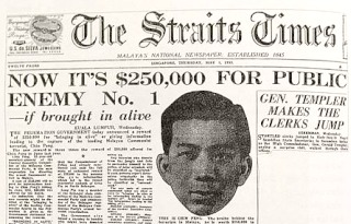 "A quarter million dollars of bounty on Chin ""Butcher of Malaya"" Peng, The Straits Times 1 May 1952"