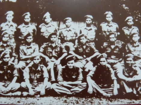 Force 136 Wataniah: Ctr row: Ibrahim Ismail (3rd fr. left),  Yeop Mahidin (3rd fr. right), Abdul Razak Hussein (far right)