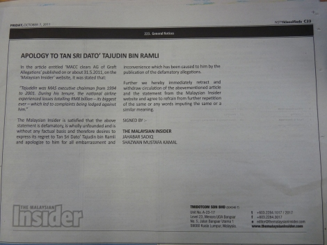 The Malaysian Insider's apology to Tajudin Ramli, NST 7 Oct 2011