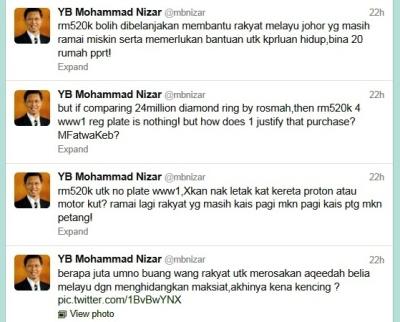 DAP-Puppet-Menteri-Besar Ir Nizar Jamaluddin's notorious tweets