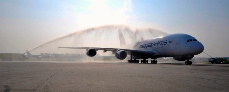 Game changer: Malaysia Airlines first A380-800 getting the traditional welcome at  KLIA, as it arrives from Airbus Centre 29 June 2012