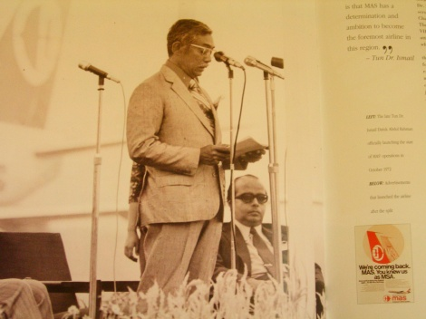 Deputy Prime Minister Tun Dr Ismail Abdul Rahman at the officiation of Malaysia Airlines System 1 Oct 1972