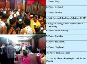 Personaliti gereja dan DAP yang terlibat dalam majlis Red Rock Hotel pada 5 Mei 2011 dikenal pasti