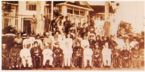 HRH Malay Rulers, UMNO representataives, Menteri Menteri Besar and British High Commissioner at the Federation of Tanah Melayu Treaty, inked on 21 Jan 1948 at King's House, Kuala Lumpur