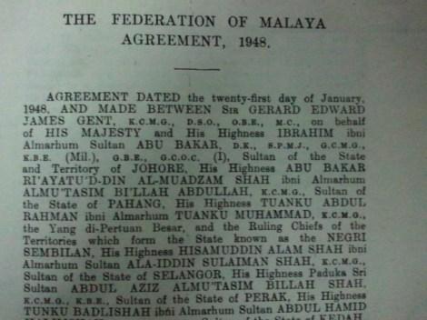 Perjanjian Persekutuan Tanah Melayu, 21 January 1948
