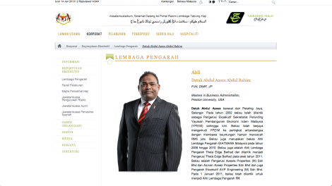 The Tabung Haji page of Azeez Rahim as a BOD member