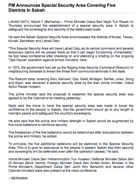 Bernama report on the Special Security Area announcement