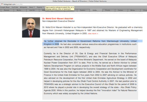 Emir Mavani's brief resume in FGVH website (as at 31 May 2013)