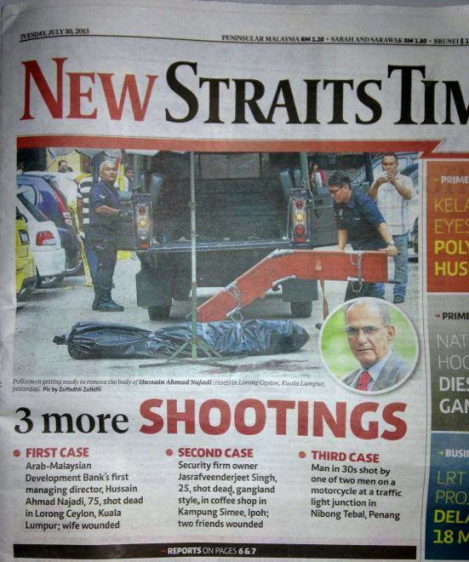 NST frontpage 30 July 2013