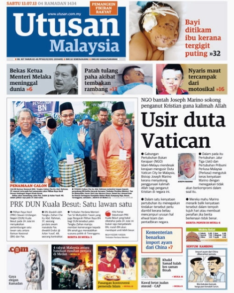 Front Page Utusan Malaysia today