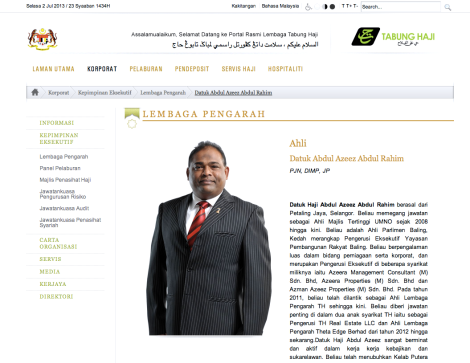 Updated brief resume of Datuk Azeez Rahim, in Tabung Haji website