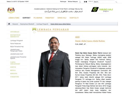 Updated brief resume of Datuk Azeez Rahim, in Tabung Haji website