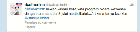Sports journo Rizal Hashim's tweet on the subject matter