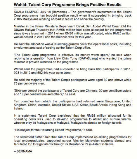 Bernama.com report 18 July 2013