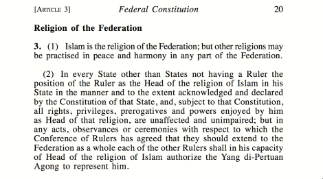 Article 3.1 & 3.2 of the Federal Constitution