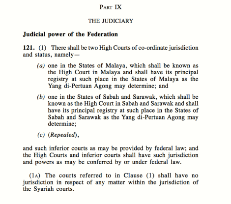 Matters pertaining to Islam should have been brought to the Syariah High Court, as per the Art 121 (a) Federal Constitution