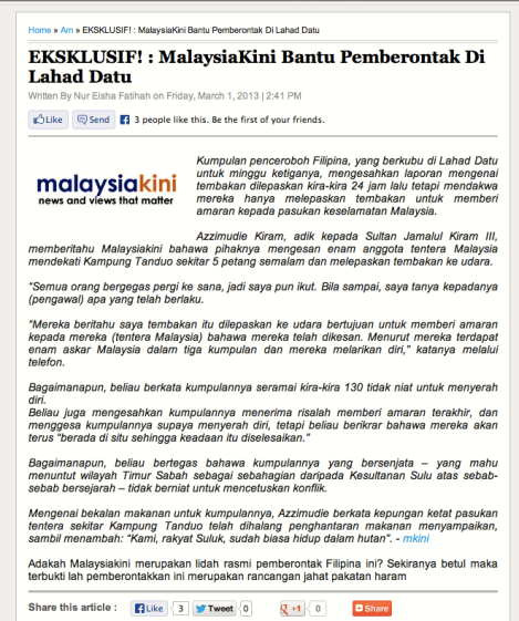 Malaysiakini story, criticised