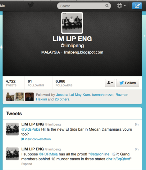 The twitter message of Lim Lip Eng, meant to doubt the Police's action in Penang this morning