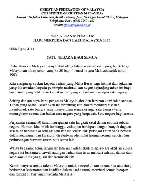 CFM Hari Merdeka ke 56 message, pg 1