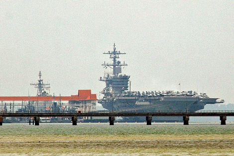 USN Nimitz Class nuclear powered aircraft carrier USS Carl Vinson in Port Klang