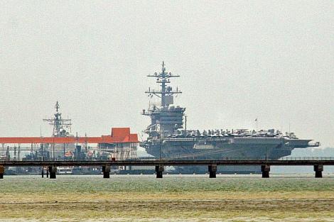 USN Nimitz Class nuclear powered aircraft carrier USS Carl Vinson in Port Klang