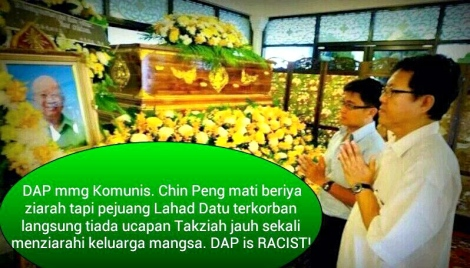 "DAP MP for Jelutong Jeff Ooi  seen offering prayers at the casket holding Chin ""Butcher of Malaya"" Peng's reamins in Bangkok"