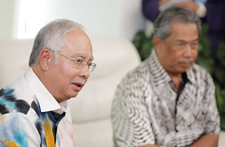 PM Najib and DPM Muhyiddin at the press conference about the UMNO VP and MT results, in Putrajaya