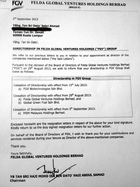 """Isa Samad's letter to Sabri Ahmad informing of the """"Cessation as BoD member of FGV and MSM"""" dated 2 Sept 2013"""