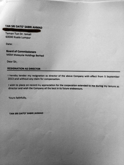 The undated and unsigned letter prepared by Isa Samad for Sabri Ahmad to make his mark, resignation as BoD member of MSM