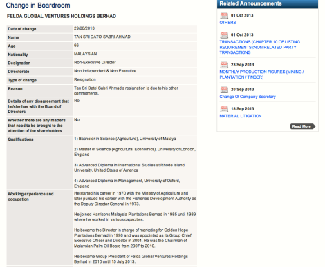 Announcement of resignation of Tan Sri Sabri Ahmad from BoD of FGV made through Bursa Malaysia website, 29 Aug 2013