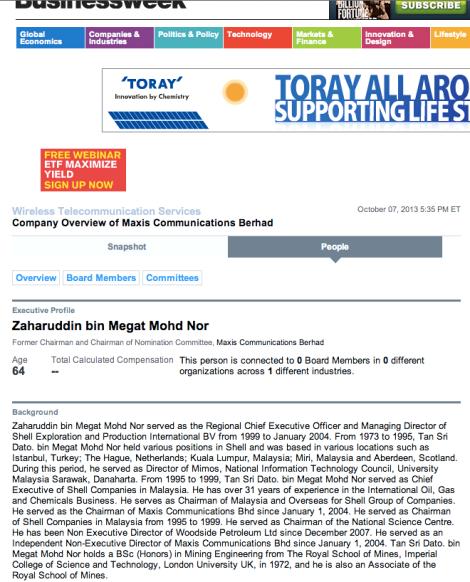 Screenshot of brief biodata of Tan Sri Megat Zaharuddin in Bloomberg Business