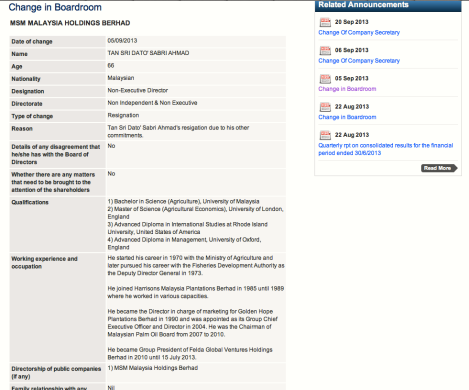Screenshot of MSM announcement to Bursa Malaysia dated 5 September 2013 for the resignation of Sabri from the BoD