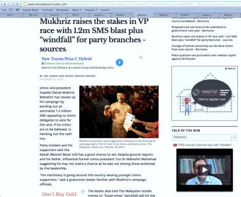 Screenshot of TMI's false report about Mukhriz Mahathir's the night before D-Day