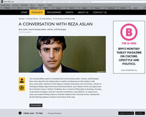 Screenshot of BFM website promoting the interview with Reza Aslan