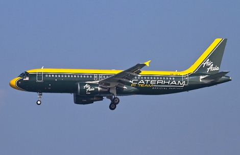 An AirAsia A320 airliner with Caterham livery