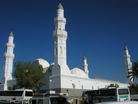 Quba mosque in outskirts of Medinah. This is the first mosque Muhammad built, which was his last stop during the emigration from Mekkah on 622AD.
