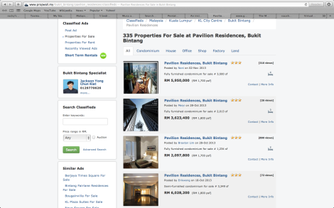 Screenshot of the current market price of a condominium in Pavilion Residences