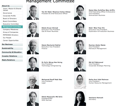The Management of Petronas: Fifty percent of the Exec Vice Presidents is now Non Malays