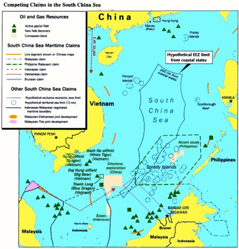 Existing oil and gas fields, multiple claims and China's imaginary 'territory' in South East Asia