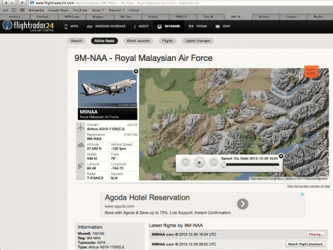 "The online log for ACJ319 VVIP jet with tail number 9M-NAA dubbed ""NR1"" or ""Perdana One"""