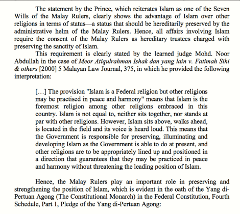 Court of Appeal Justice Dato' Mohd/ Noor Abdullah's ruling on the position and role of Islam in Malaysia