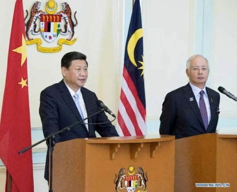 Prime Minister Najib and President Xi Jinping on the latter's state visit to Malaysia at Perdana Putra, October 2013
