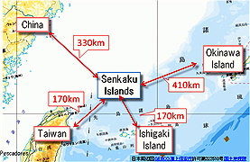 Proximity of Sensaku Islands, as justified by Japan for its claim