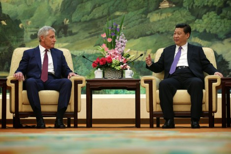 U.S. Secretary of Defense Chuck Hagel meets with Chinese President Xi Jinping at the Great Hall of the People, Wednesday. Getty Images