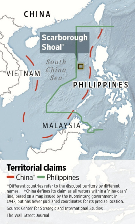 The over lapping claims between the Phillippines and China in the South China Sea