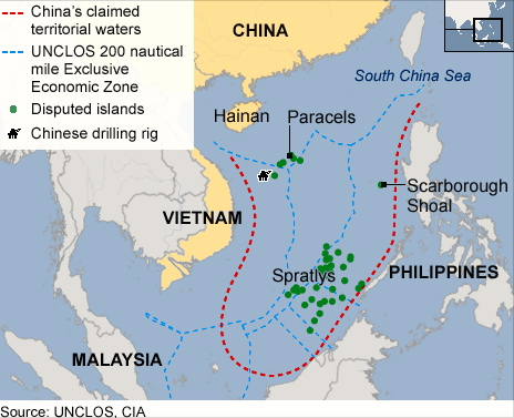 China encroaching into neighbours EEZ territories as defined by UNCLOS (1982) and relationship is sliding downwards