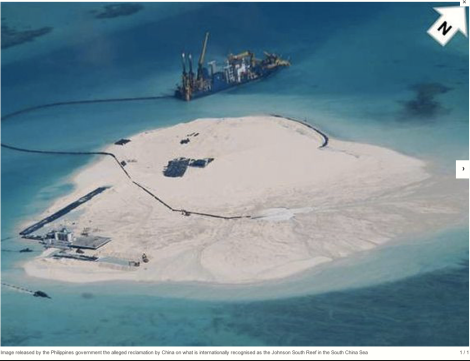 China PLA N building an air strip on the atolls which is clearly deep within the philippines' EEZ, as defined by UNCLOS