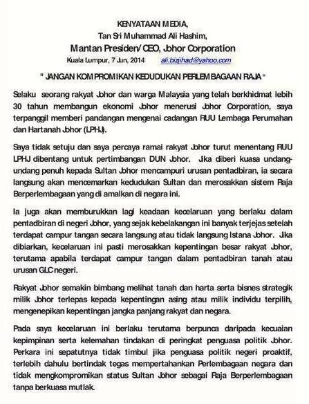 Kenyataan bekas CEO JCorp  Tan Sri Mohamed Ali Hashim mengenai LPHJ