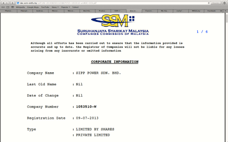 Search on SSM portal about SIPP Power Sdn. Bhd.