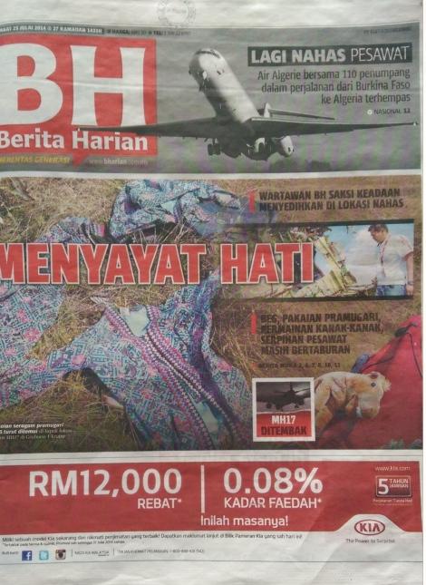 Berita Harian frontpage 25 July 2014